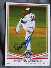 Detroit Tigers Gerson Moreno Signed 2017 Erie Seawolves Auto Card
