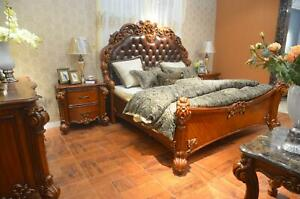 Bedroom Set Bed + 2x Night Table Chesterfield Wood Leather Beds Pads