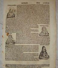 WELTCHRONIK Leaf Liber Chronicarum Nuremberg Chronicle 1493 KOBERGER SCHEDEL  .