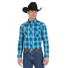 Wrangler Logo Mens Blue Plaid Embroidered Western Snap Shirt *NWT* XLarge