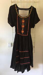 Sommer Kleid Free People Gr.M Schwarz Bestickt