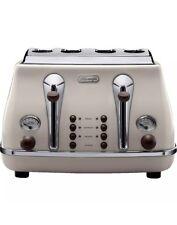 DeLonghi CTOV4003BG 1800W 4 Slice Vintage Icona Wide Slot Toaster - Cream