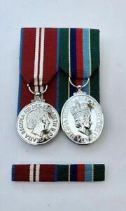 FULL SIZE VOLUNTEER RESERVE SERVICE & DIAMOND JUBILEE Medals & Pin on Ribbon Bar