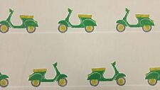 Vespa Ride Scooters Mopeds Emerald Curtain Craft Upholstery Cotton Fabric