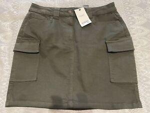NEXT -NWT UK 14 Khaki Green  Soft  Cargo Skirt - Pockets RRP£28 Casual Autumn