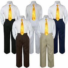 3pc Boys Suit Yellow Sunbeam Necktie Baby Toddler Kids Pants Formal Uniform S-7