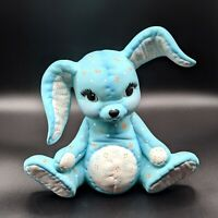 Vintage Quilted Bunny Rabbit Ceramic Figurine Statue 80s Easter Decor Blue Cute