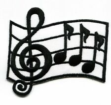 Musical Bar/Measure - G Clef/Notes - Iron on Applique/Embroidered Patch