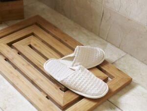 Luxury Bamboo Wood Wooden Pattern Duck Board Shower Bath Mat Slatted Non Slip