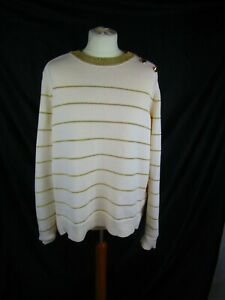 Per Una cream gold stripe cotton jumper button embellishment UK 20