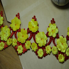 1YD Exquisite yellow Floral Bridal red Alencon Corded Lace Trim Bridal Wedding
