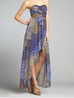 NWT $158 Max and Cleo By BCBG Strapless Chloe peacock NEW chiffon dress S's 2 XS