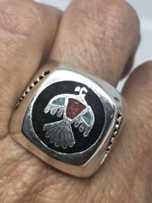 Vintage Southwestern Silver Stone Inlay American Thunderbird 9 Size Ring