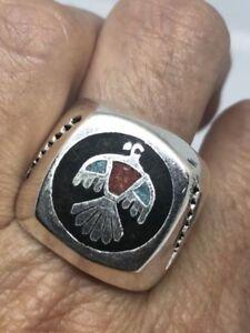 Vintage Southwestern Silver Stone Inlay American Thunderbird 11 Size Ring