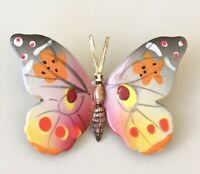 Vintage hand painted  Butterfly Brooch