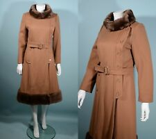 Vintage 60s Taupe Wool Princess Coat Sheared Fur Collar + Hemline, Fitted Coat S