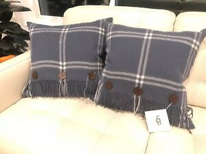 """UGG PILLOW SET 2 100% SOFT WOOL & LEATHER BUTTONS OCEAN BLUE 20""""X20"""" DOWN FILLED"""