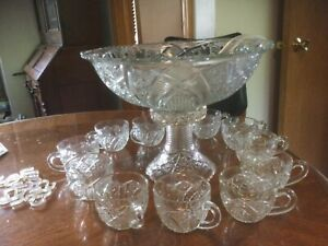 1890's-1900 Antiq.Edwardian,Pressed Glass EAPG Punch/Fruit Bowl&Stand&Cups&Hooks
