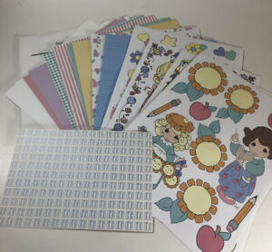 1998 PRECIOUS MOMENTS SCRAPBOOK PAPER & CUT OUTS & PHRASES 18 PAGES NEW