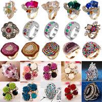Fashion Women Wedding Ring Rhinestone Crystal Diamond Gemstone Jewelry Gift