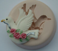 silicone mould dove bird rose flower wedding birthday cupcake icing fimo topper