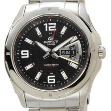 CASIO EDIFICE 100M EF129D-1AV EF-129D-1AV Black Free Ship !