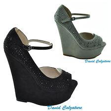 Scarpe donna sandali sandalo decoltè nero e beige zeppe alte plateau strass