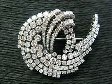 Baguette Cut Diamond Vintage Pin Brooch 14K White Gold Over 5Ct Round &