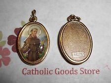 St. Saint Francis of Assisi Italian 1 inch Gold Tone and Enameled - Medal