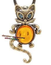 Bronze Solid Brass Baltic Amber Pendant Bib Necklace Charming Cat IronWork