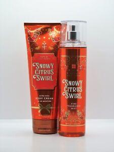 2pc Bath & Body Works SNOWY CITRUS SWIRL Body Cream & Fragrance Mist FREE SHIP