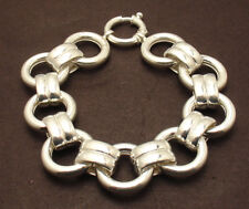"""8"""" Bold Circle & Oval Link Chain Bracelet Spring Lock Real 925 Sterling Silver"""