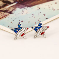USA US American National Flag Crystal Earring Patriotic Earring Stud Jewelry