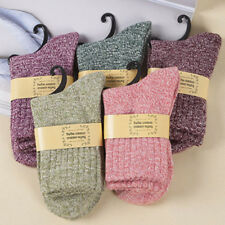 5 pairs Mens Women Ladies Long Thick Wool Socks Warm Soft Solid Cashmere Winter
