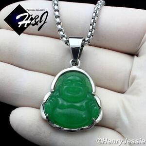 "18""-36""MEN Stainless Steel 3mm Silver Box Chain Green Jade BUDDHA Pendant*P123"
