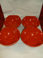 """SET OF 4  DANSK CLASSIC FJORD CHILI RED 8.5"""" CEREAL BOWLS...NICE!!"""