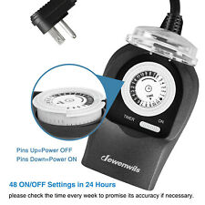 Dewenwils Outdoor Waterproof Timer Heavy Duty Plug in Grounded Outlets Homt12B