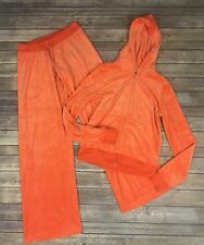 Juicy Couture Womens Large Orange Velour 2 Piece Track Suit Jacket Pants Bling