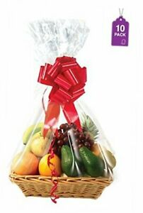 Clear Basket Bags Pack Large Clear Cellophane Wrap for Baskets & Gifts 10