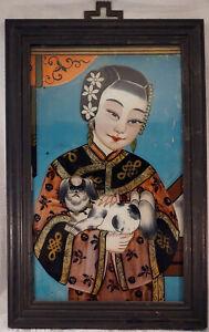 Antique Chinese Reverse Painting on Glass Geisha Girl Courtesan w/ Shih Tzu Dog