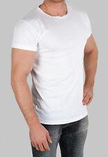 3er Pack Herren T-Shirt 80er Stil Rundhals Freizeit Sport Muskel fitnes weiß fit