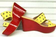 Stuart Weitzman Sz 6 M Red Patent Leather yellow satin open toe platform wedge