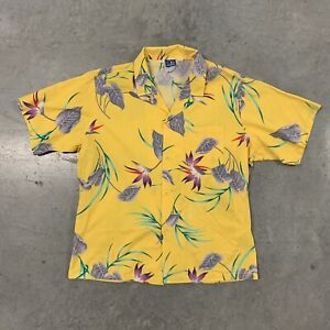 Vintage 1970/'s Silky Yellow Floral Embroidered Short Sleeve Boxy Top XL