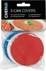 3 x Can Cover Pet Food Dog Food Cap Baked Beans Tin Top Lid in Red, White & Blue