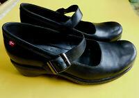 ECCO Sussex MARY JANE Black Leather Danish Heels, $150 EU 39 US 8 1/2 M