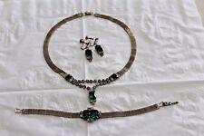 Vintage 1940s Jewelry Set Necklace Bracelet Earrings Silvertone Emerald Green