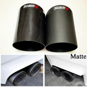 Carbon Fiber Universal 76mm Car Exhaust Muffler Pipe Tips Matte Crimping Side