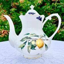 Gracie China by Coastline Imports Lemon Motif Teapot
