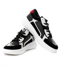 Scarpe Uomo Sneakers Sportive  Nere Bianche Rosse Shoes Calzature con Lacci G...