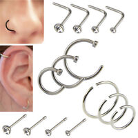 14x/Set Stainless Steel Hinged Segment Nose Ring Bone Stud Hoop Body Piercing CF